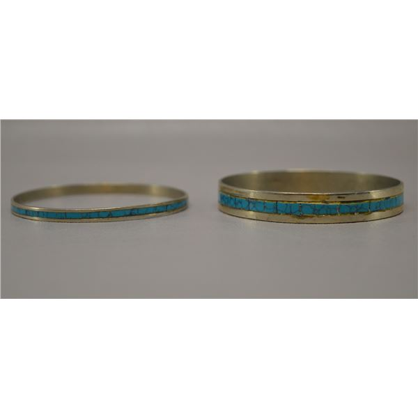 TWO MEXICAN NICKLE SILVER BANGLES