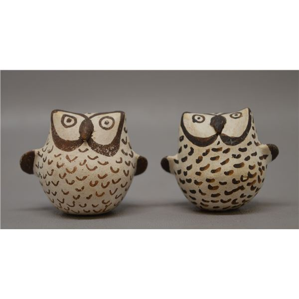 TWO NATIVE AMERICAN ACOMA POTTERY OWLS BY LENO