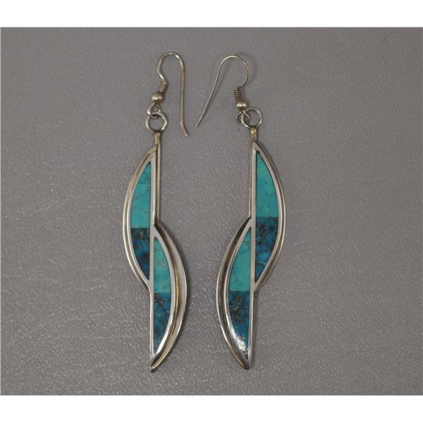 NATIVE AMERICAN NAVAJO SILVER EARRINGS SIGNED K AND LOGO