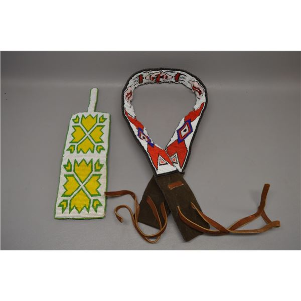 TWO NATIVE AMERICAN PLAINS BEADED BELT AND WALLET