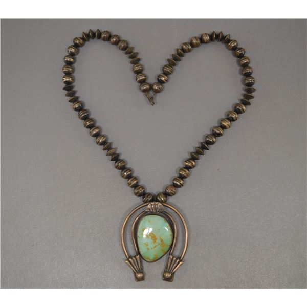NATIVE AMERICAN NAVAJO SILVER BEADS AND NECKLACE