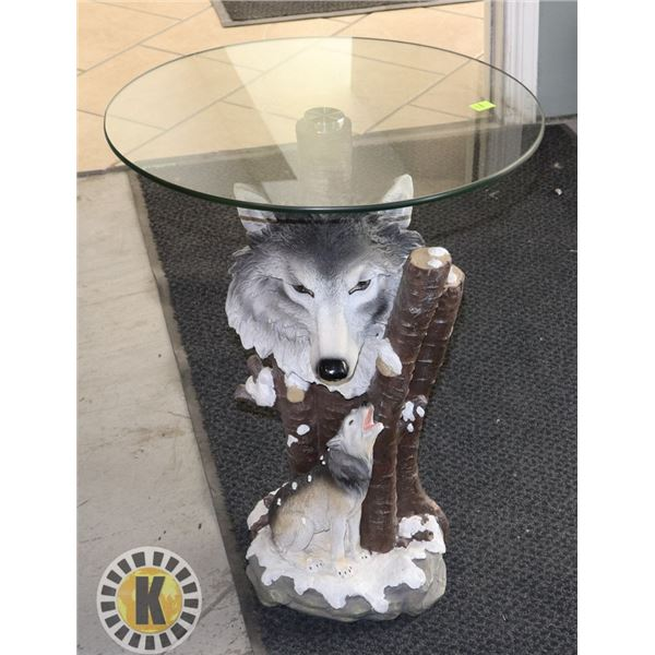WOLF THEME GLASS TOP END TABLE