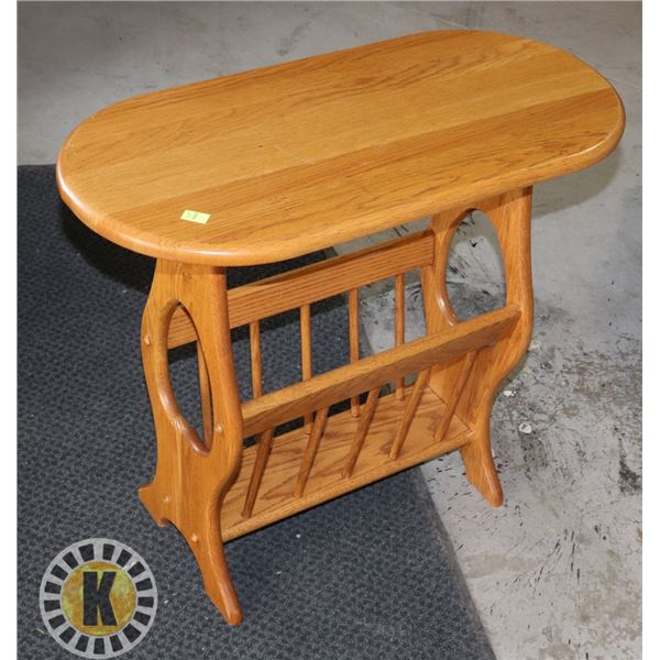 WOOD END TABLE WITH MAGAZINE/ NEWSPAPER STORAGE