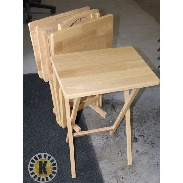 FOUR WOOD TV TRAYS WITH STAND