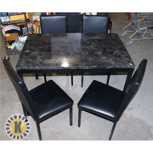 ESTATE FAUX MARBLE TOP TABLE WITH FOUR CHAIRS