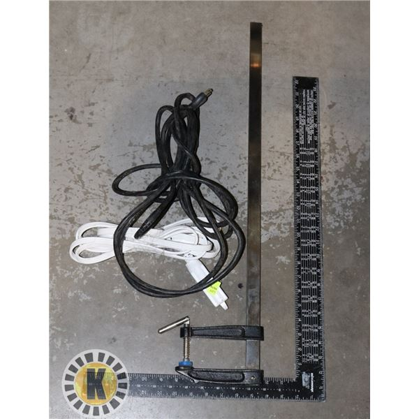 BUNDLE OF TOOLS INCLUDING CLAMP, EXTENSION CORDS