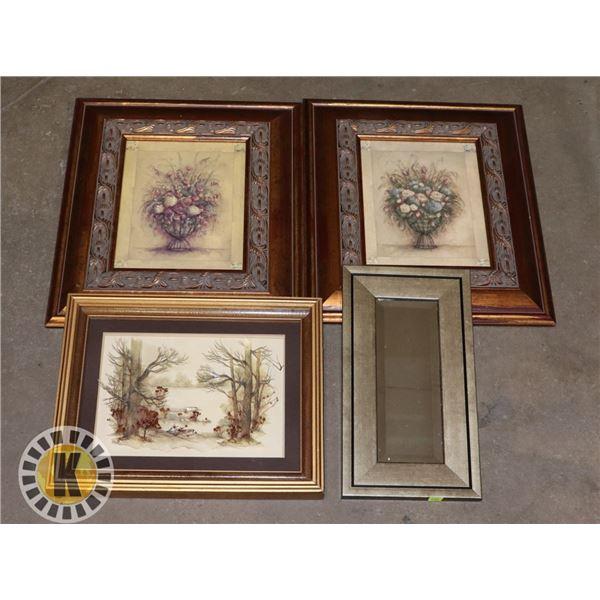 3 PICTURE FRAMES & MIRROR ART