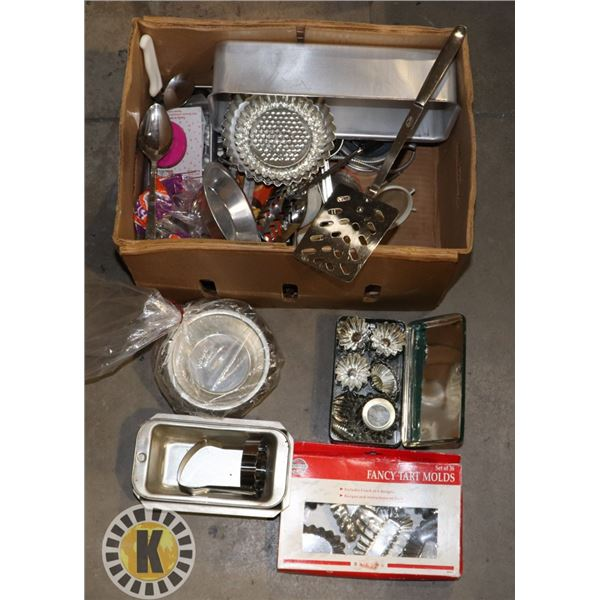BOX OF ASSORTED BAKING AND OTHER KITCHEN UTENSILS