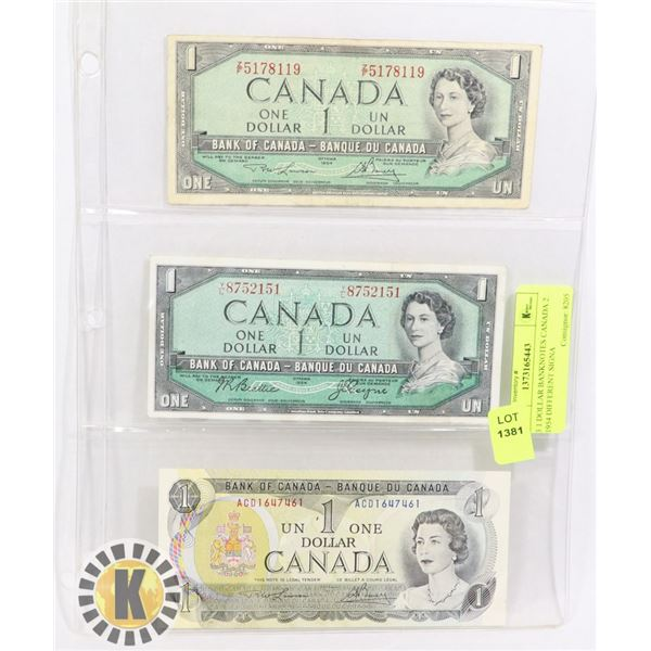 3 1 DOLLAR BANKNOTES CANADA 2 1954 DIFFERENT SIGNA