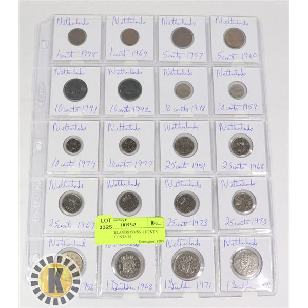 20 NETHERLANDS COINS 1 CENT 5 CENTS 10 CENTS 25