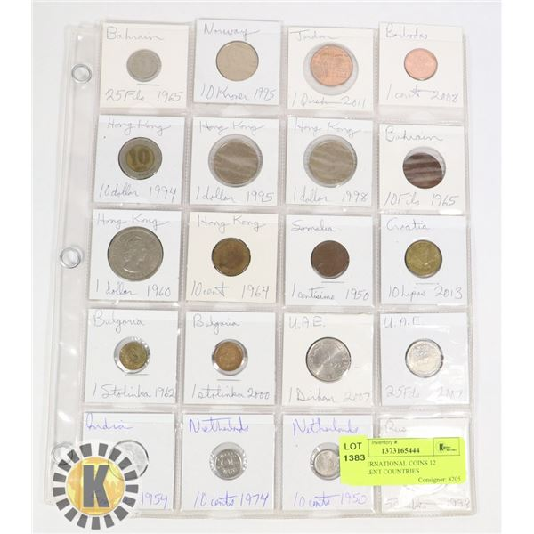 20 INTERNATIONAL COINS 12 DIFFERENT COUNTRIES