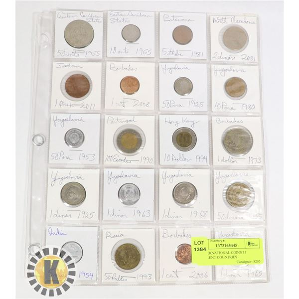 20 INTERNATIONAL COINS 11 DIFFERENT COUNTRIES