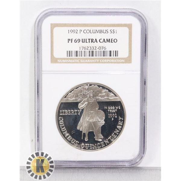 1992 P SILVER USA COLUMBUS $1 COIN CERTIFIED NGC