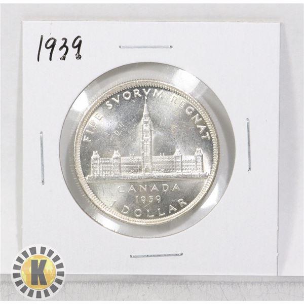 1939 SILVER CANADA $1 DOLLAR COIN, HIGHER GRADE