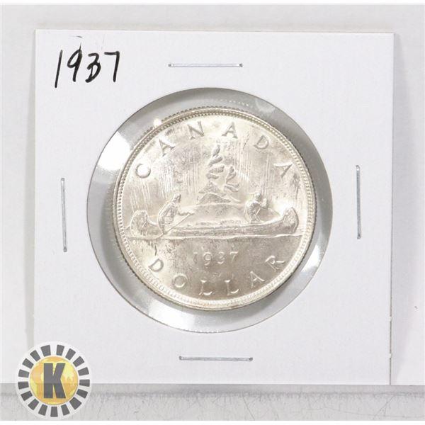 1937 SILVER CANADA $1 DOLLAR COIN, HIGHER GRADE