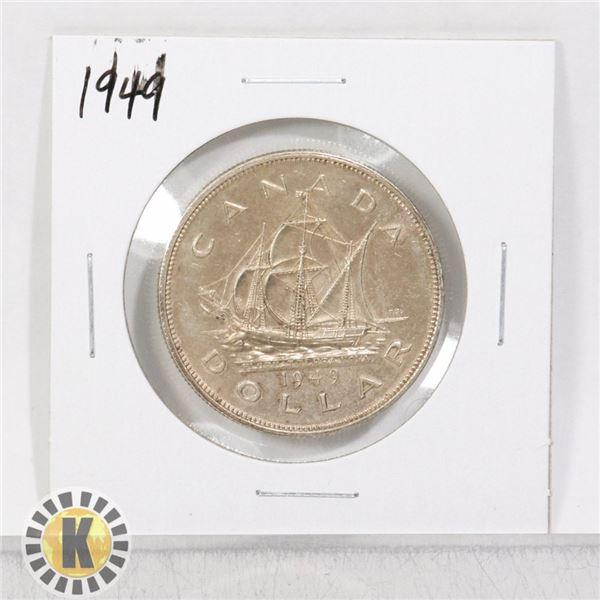 1949 SILVER CANADA $1 DOLLAR COIN, HIGHER GRADE