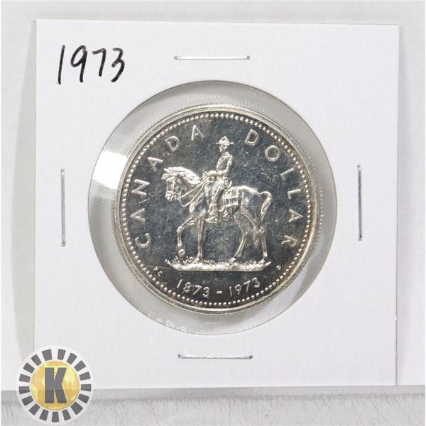 1973 SILVER RCMP CANADA $1 DOLLAR COIN, SPECIMEN