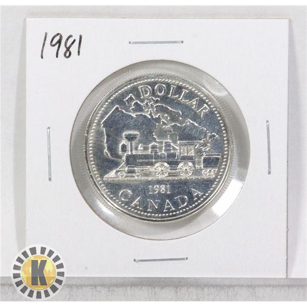 1981 SILVER CANADA $1 DOLLAR COIN, SPECIMEN