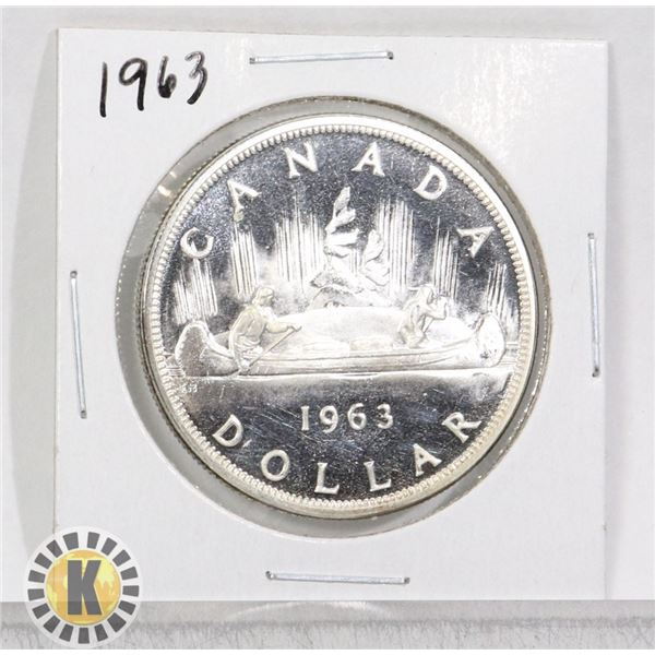 1963 SILVER CANADA $1 DOLLAR COIN, PROOF-LIKE