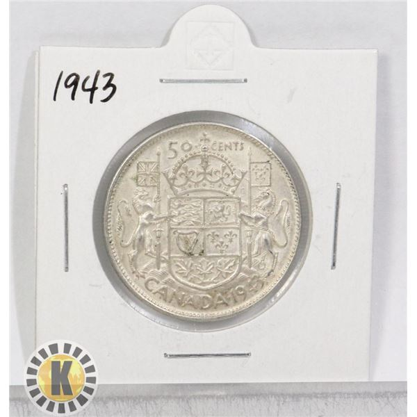 1943 SILVER CANADA 50 CENTS COIN