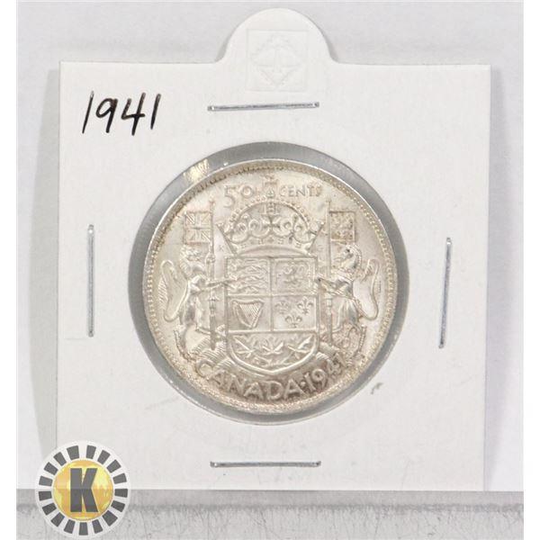1941 SILVER CANADA 50 CENTS COIN