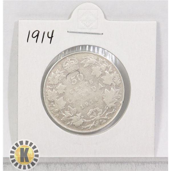 1914 SILVER CANADA 50 CENTS COIN