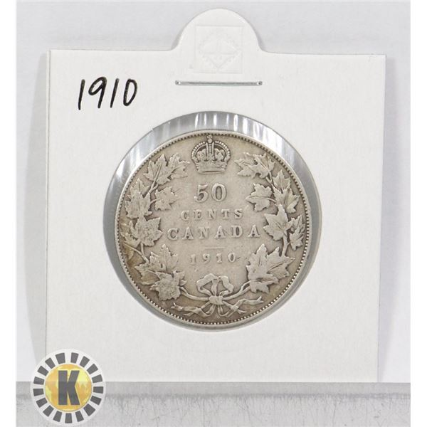 1910 SILVER CANADA 50 CENTS COIN
