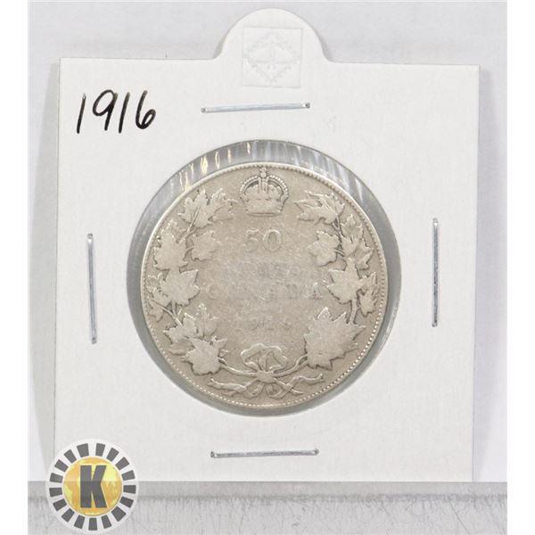 1916 SILVER CANADA 50 CENTS COIN
