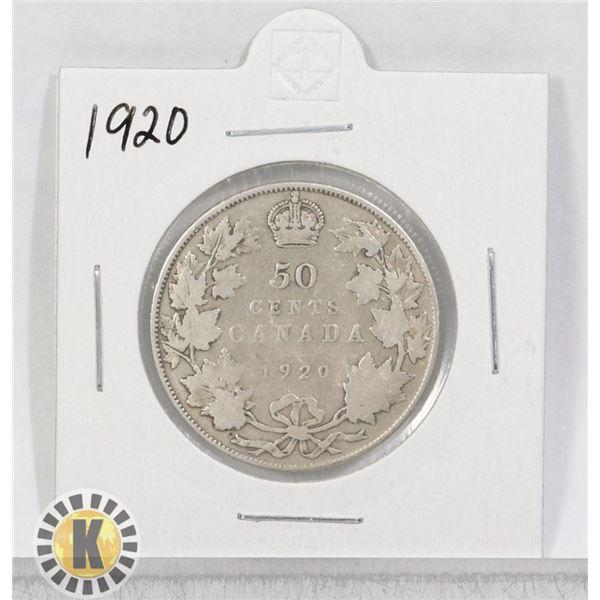 1920 SILVER CANADA 50 CENTS COIN
