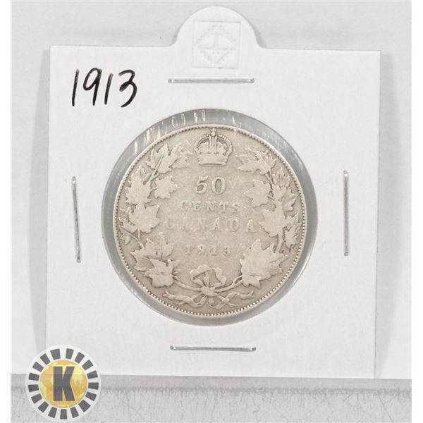1913 SILVER CANADA 50 CENTS COIN