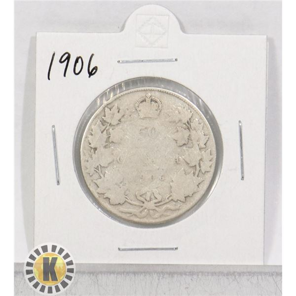 1906 SILVER CANADA 50 CENTS COIN