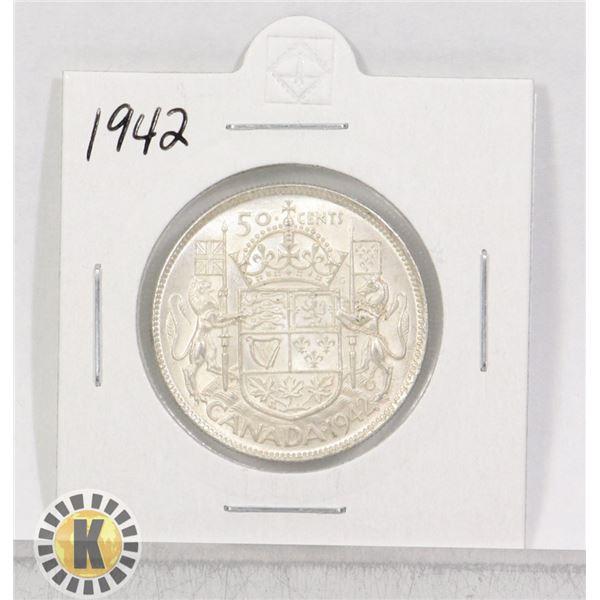 1942 SILVER CANADA 50 CENTS COIN
