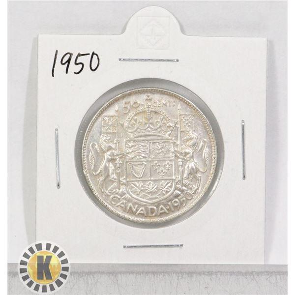 1950 SILVER CANADA 50 CENTS COIN