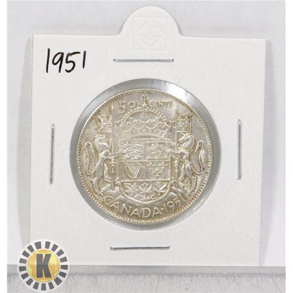 1951 SILVER CANADA 50 CENTS COIN