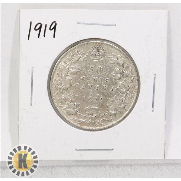 1919 SILVER CANADA 50 CENTS COIN