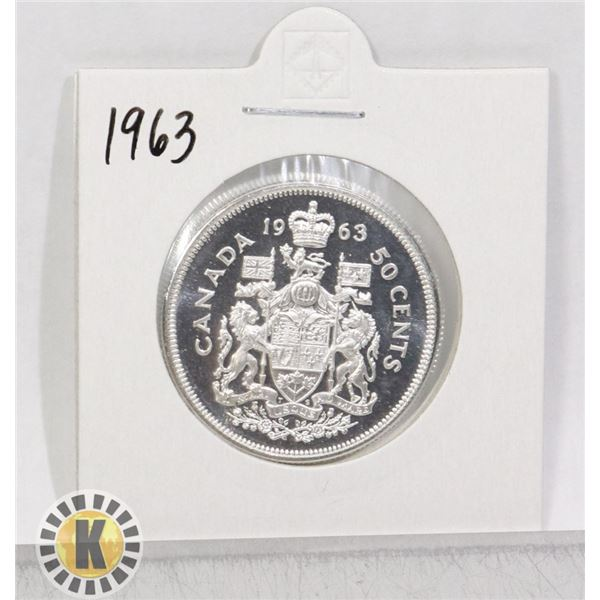 1963 SILVER CANADA 50 CENTS COIN, PROOF-LIKE