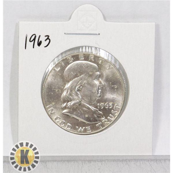 1963 SILVER USA KENNEDY 50 CENTS COIN, BU