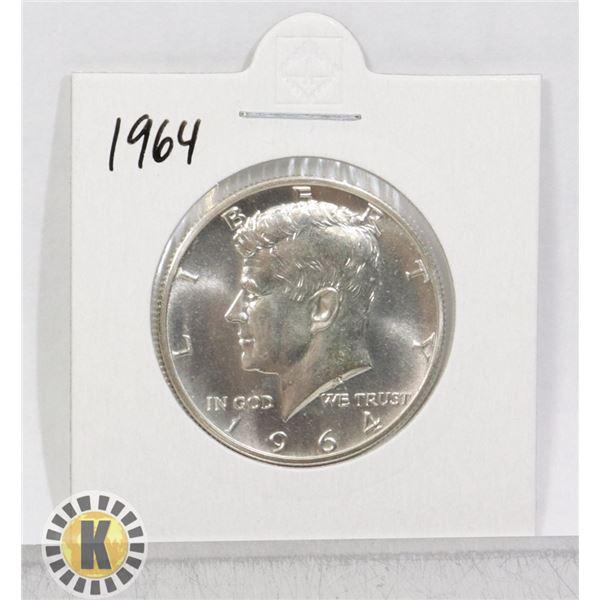 1964 SILVER USA KENNEDY 50 CENTS COIN, BU