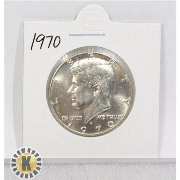 1970 SILVER USA KENNEDY 50 CENTS COIN, BU