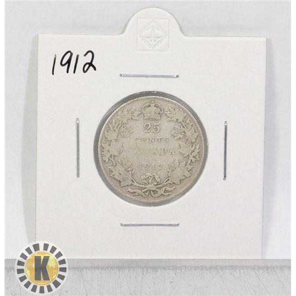 1912 SILVER CANADA 25 CENTS COIN
