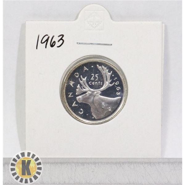 1963 SILVER CANADA 25 CENTS COIN