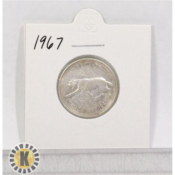 1867-1967 SILVER CANADA 25 CENTS LYNX COIN