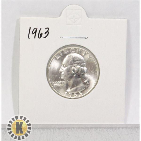 1963 SILVER USA QUARTER DOLLAR COIN, BU