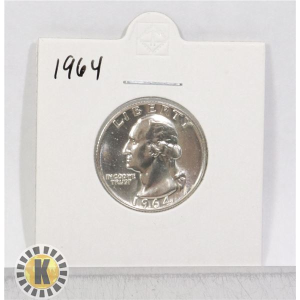 1964 SILVER USA QUARTER DOLLAR COIN, BU
