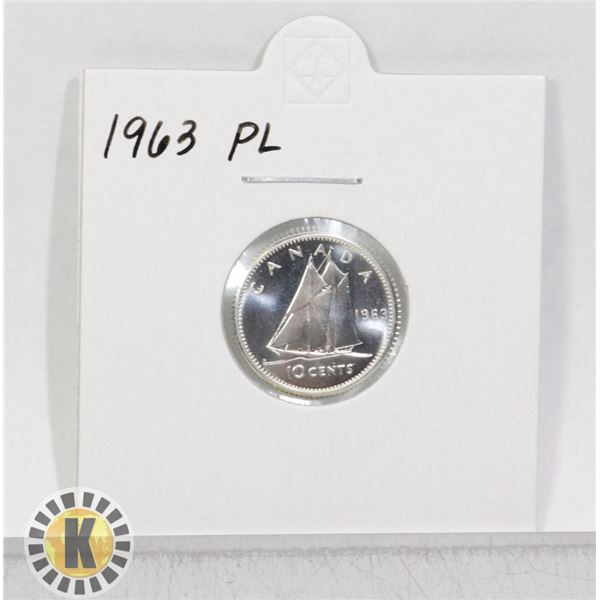1963 SILVER CANADA 10 CENTS COIN, PROOF-LIKE