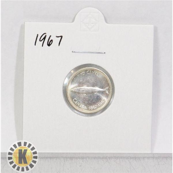 1867-1967 SILVER CANADA CENTENNIAL 10 CENTS COIN