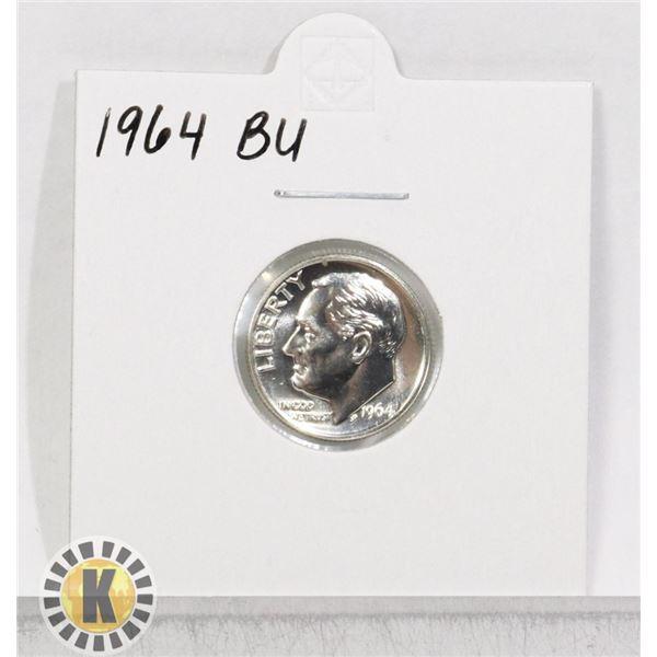 1964 SILVER USA 10 CENTS COIN, BU