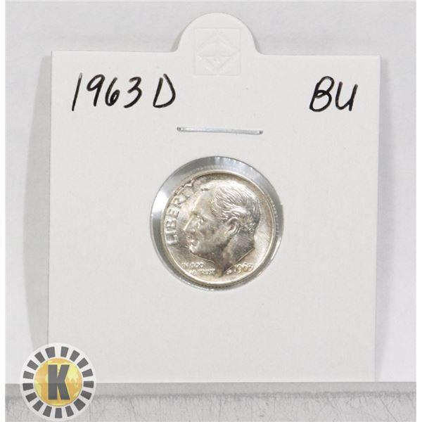 1963 D SILVER USA 10 CENTS COIN, BU