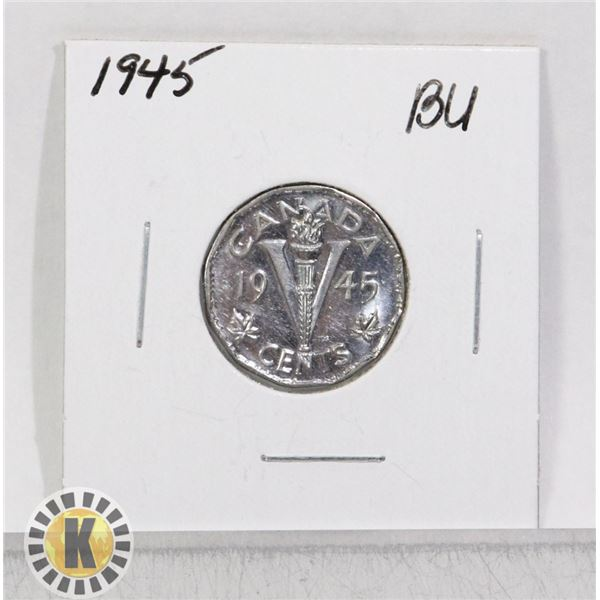 1945 WWII CANADA VICTORY 5 CENTS COIN