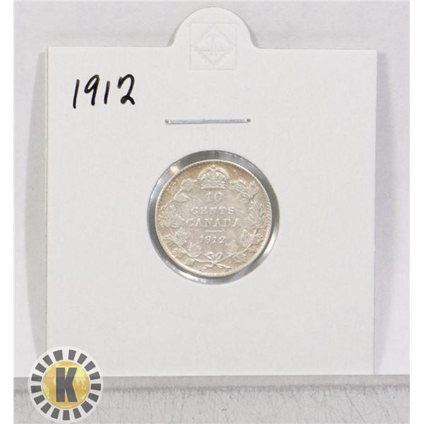 1912 SILVER CANADA 10 CENTS COIN